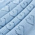 Petite Hearts Blue Knitted Baby Blanket