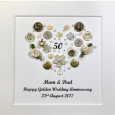 Personalised Scatter Heart Anniversary Button Frame