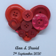 Personalised Red Button Love Heart Frame