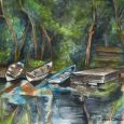 Colourful Landscape Print of Boats Moored in Cong in Galway