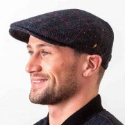 Donegal Tweed  Dubliner Cap - Navy with Pink Overcheck