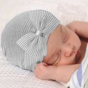Newborn Baby Hat with Bow Grey Stripes
