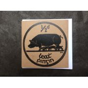 Irish Half Penny Sow Coin Lino Print Greeting Card