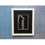 Stance of Female Body Front - Light Through Blinds Lino Print