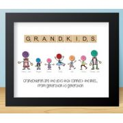 Personalised Grandchildren Button Caricature Picture Framed Gift