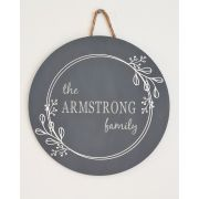 Personalised Floral Wooden Circular Surname Plaque