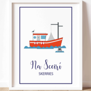 Colourful A3 Print Art of a Skerries Fishing Trawler