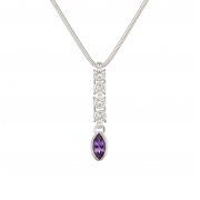 Sterling Silver Byzantine Chainmail and Amethyst Necklace