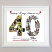 Personalised 40th Ruby Anniversary Framed Photo Collage