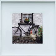 Maes High Nelly Bicycle Irish Cottage Original Framed Painting