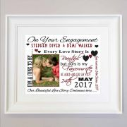 Personalised Our Engagement Sentiment Framed Gift