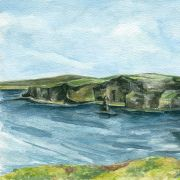 The Cliffs of Moher in Clare in a Watercolour Print