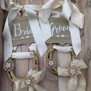 Personalised Bride and Groom Wedding Chair Horseshoe Decorative Signs