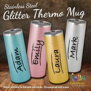 Personalised Stainless Steel Thermo Glitter Coffee Mug