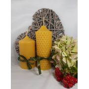 Two Hand-poured Beeswax Candles