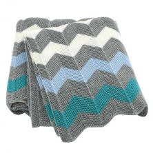 Knitted Baby Blanket Blue Chevron