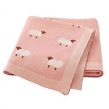 Little Sheep Knitted Pink Baby Blanket