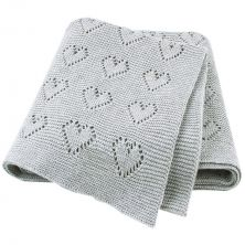 Petite Hearts Grey Knitted Baby Blanket