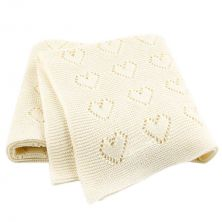 Petite Hearts Knitted Cream Baby Blanket