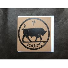 Irish 1 Shilling Bull Coin Lino Print Greeting Card