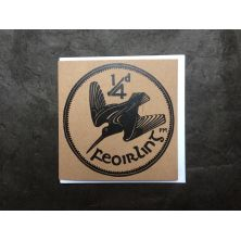 Irish Farthing Woodcock Coin Lino Print Greeting Card