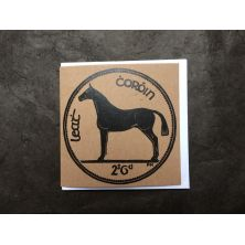 Irish Halfcrown Horse Coin Lino Print Greeting Card