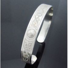 Celtic Shield Cuff Bangle - Sterling Silver