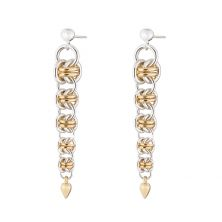 Gold Orbit Sterling Silver & Gold Filled Chainmail Earrings