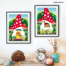 2 A4 Gnomes Mushroom House Signed Prints