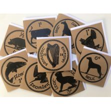 Pack of 9 Irish Coin Lino Print Greeting Cards