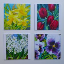 Gift Pack of 4 Beautiful Irish Garden Flower Art Cards