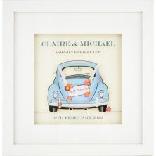 Personalised Blue Beetle Car with Wedding Details