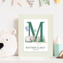 Personalised Farm Themed Baby Initial and Date Watercolour Print