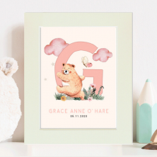Personalised Newborn Baby Watercolour Print with Name and Birth Date