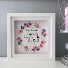 Personalised Colourful Floral Wreath Framed Best Friends Print