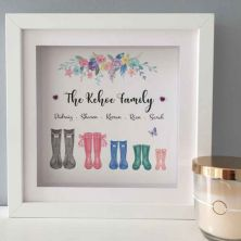 Personalised Family Wellies at Home Framed Picture