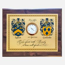 Family Surname Crest Personalised Wall Plaque with Clock