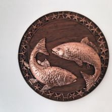 Handcrafted Irish Wood Plaque with Pisces Zodiac Symbol