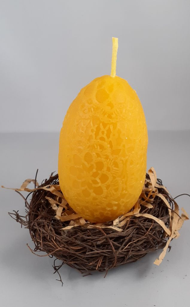 Egg Shaped Beeswax Candle 10cm in Height