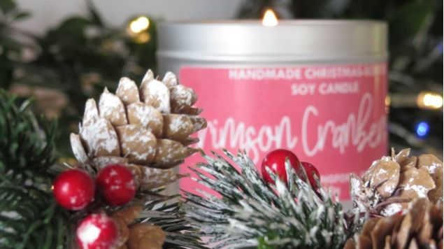 Handmade Crimson Cranberry Scented Soy Festive Candle