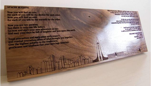 Personalised City Silhouette Wall Art - Made from Solid Walnut