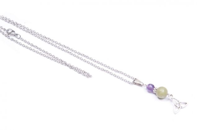 Amethyst and Connemara Marble Trinity Knot Pendant Necklace