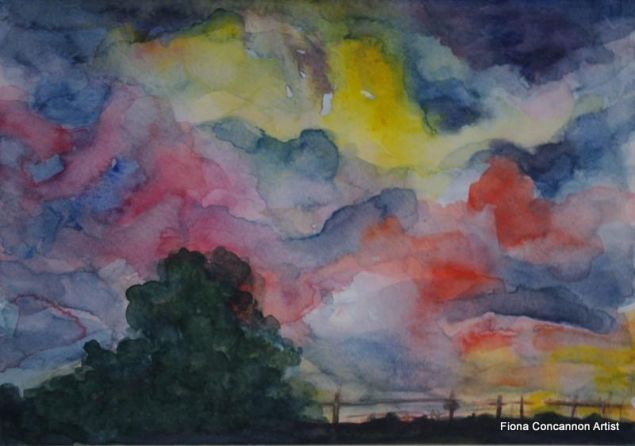 Print of an Evening Sky in Spiddal Galway