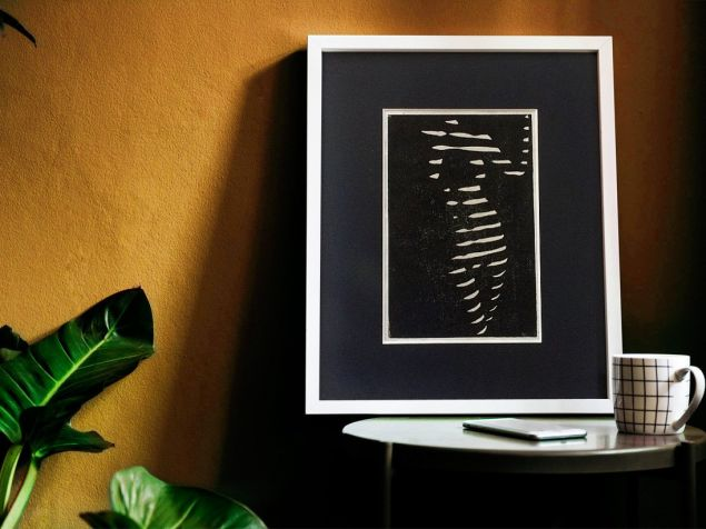 Body Pose Light Through Blinds Lino Print