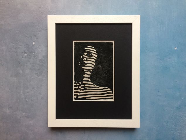 Face Two -  Light Through Blinds Lino Print