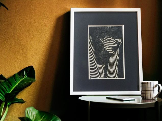 Female Face - Light Through Blinds Lino Print