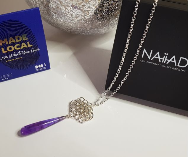 Nymph Sterling Silver Chainmail and Amethyst Necklace