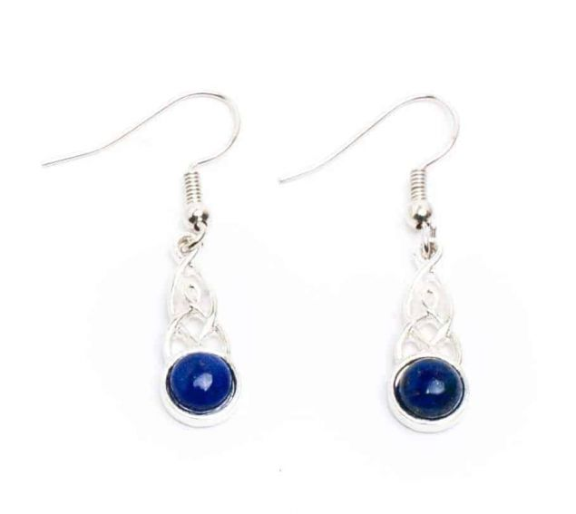 Lapis Trinity Knot Drop Earrings Handmade In Ireland