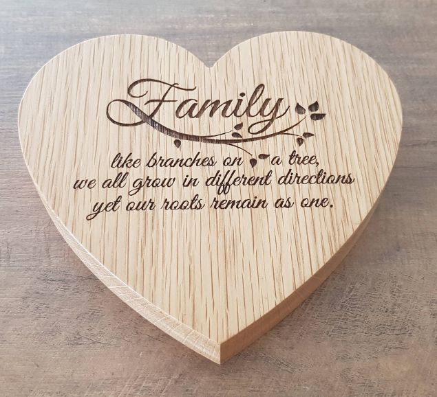 Personalised Wooden Heart in Oak or Walnut (6 x 6 inches)