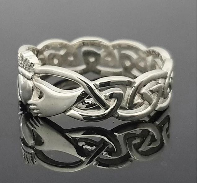 Sterling Silver Claddagh Ring with Celtic Knot Band